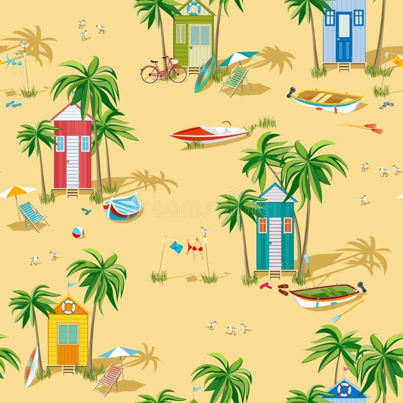 背景海滩小屋 库存例证