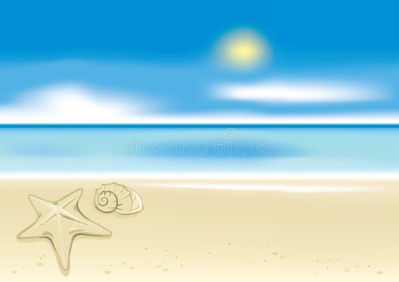 背景海滩海星 皇族释放例证