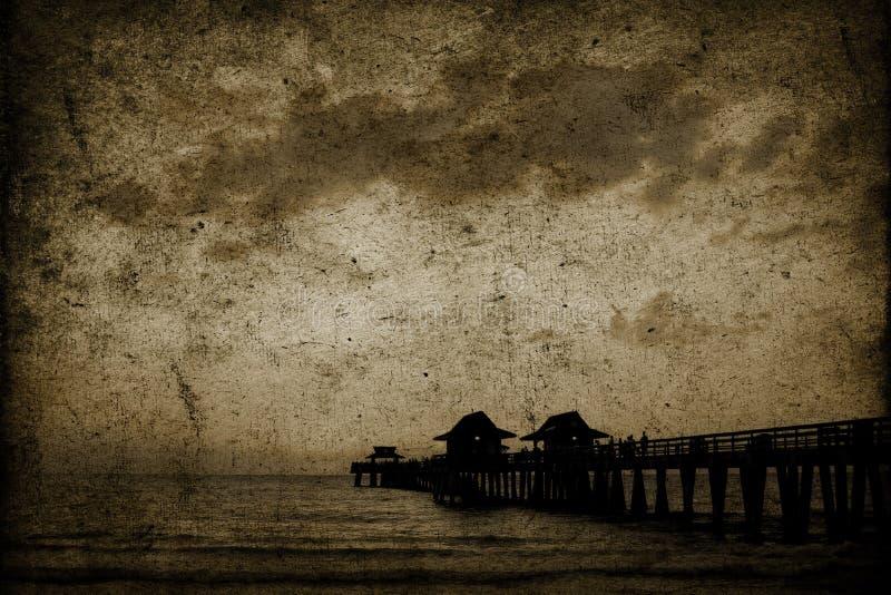 背景海滩葡萄酒 库存照片