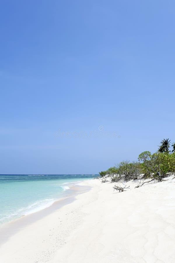 背景海滩蓝色荒岛天空 库存照片