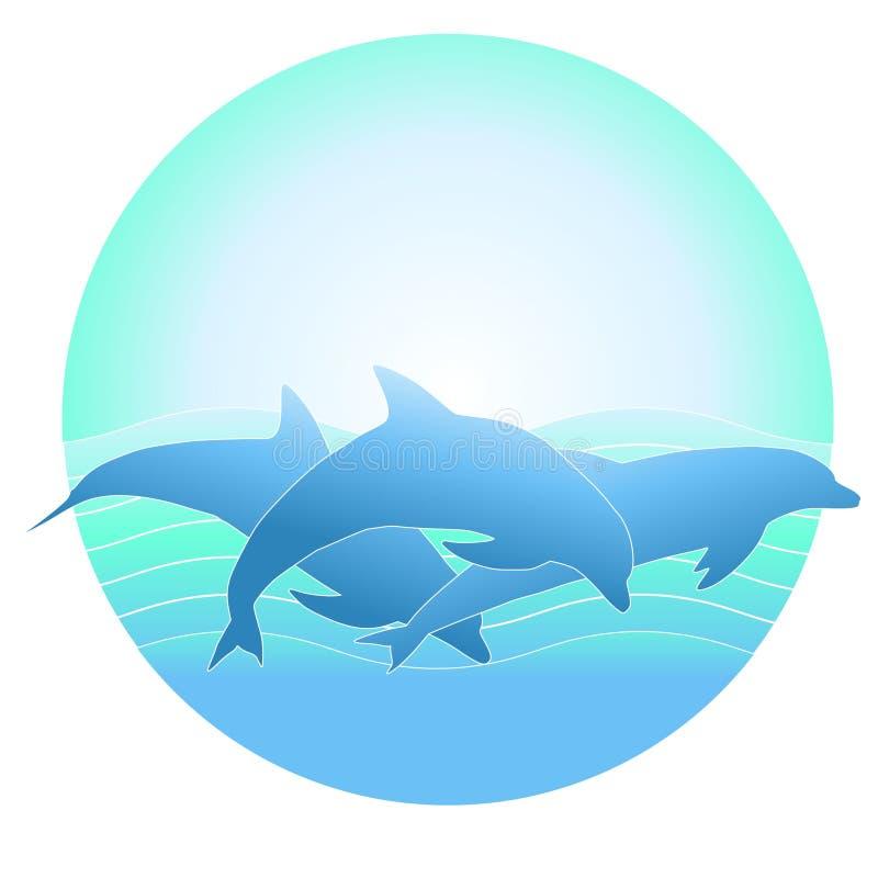背景海豚徽标 向量例证