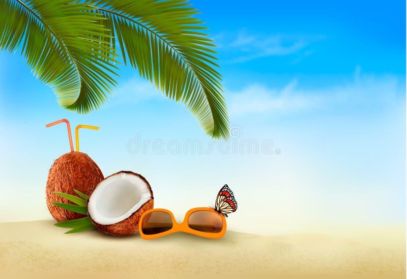 背景海滩蓝色五颜六色的天空伞假期 与棕榈树和蓝色海的海滩 向量例证