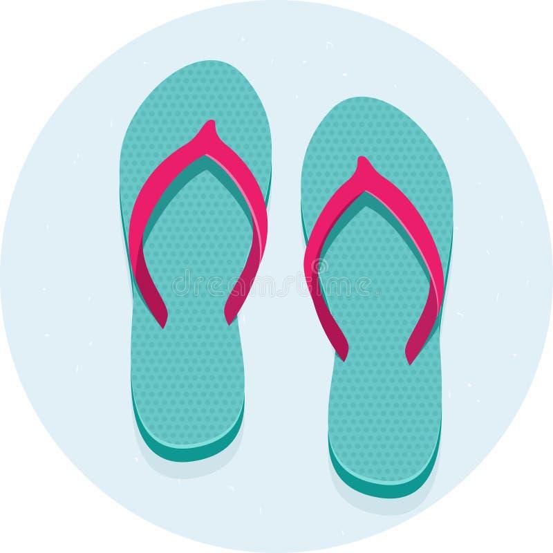 背景海滩触发器例证查出的凉鞋设置了向量空白 向量例证
