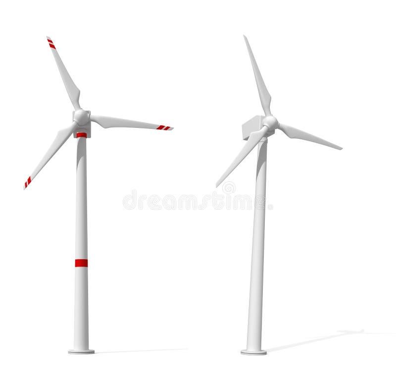 背景涡轮二白色风 库存例证