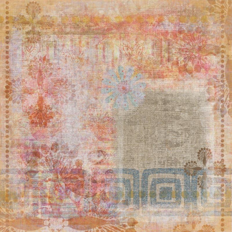 背景漂泊花卉grunge剪贴薄挂毯葡萄酒 皇族释放例证