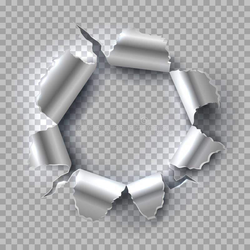 背景漏洞金属纹理 与在透明背景隔绝的被撕毁的,被剥去的边缘的爆炸的钢 背景CD的盖子grunge向量 库存例证
