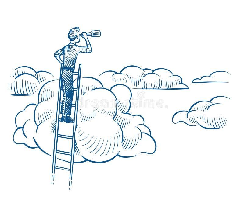 背景激发灵感企业看起来女实业家的韭葱斟酌高认为远见形象化的白色 与望远镜身分的商人在云彩中的梯子 成功的未来成就剪影 皇族释放例证