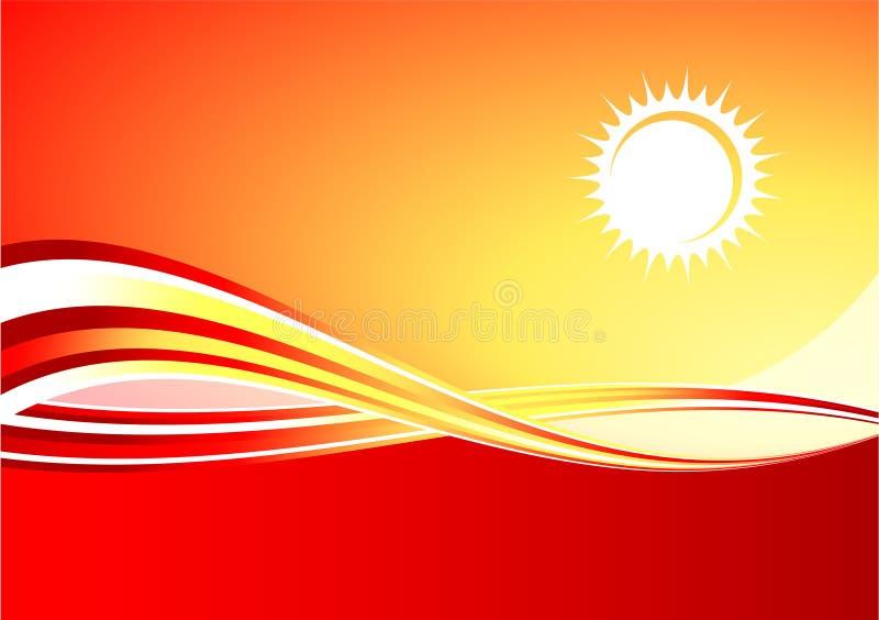 背景热红色星期日 库存例证