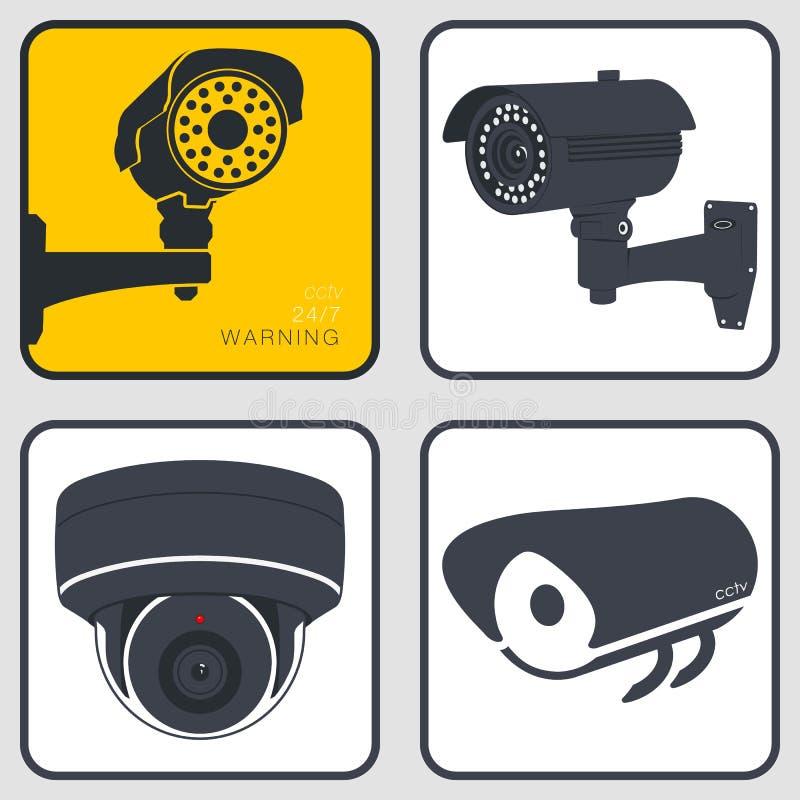 背景照相机cctv高例证查出质量白色 安全监视系统 皇族释放例证