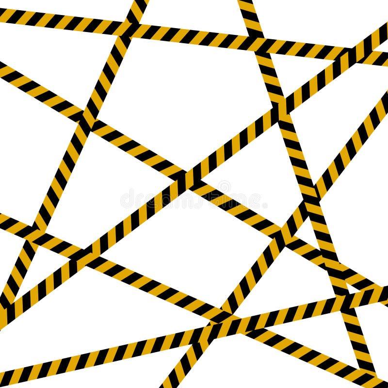 背景犯罪现场、小心磁带、警察线和危险磁带横渡,所有密封,不通过,不横渡 库存例证