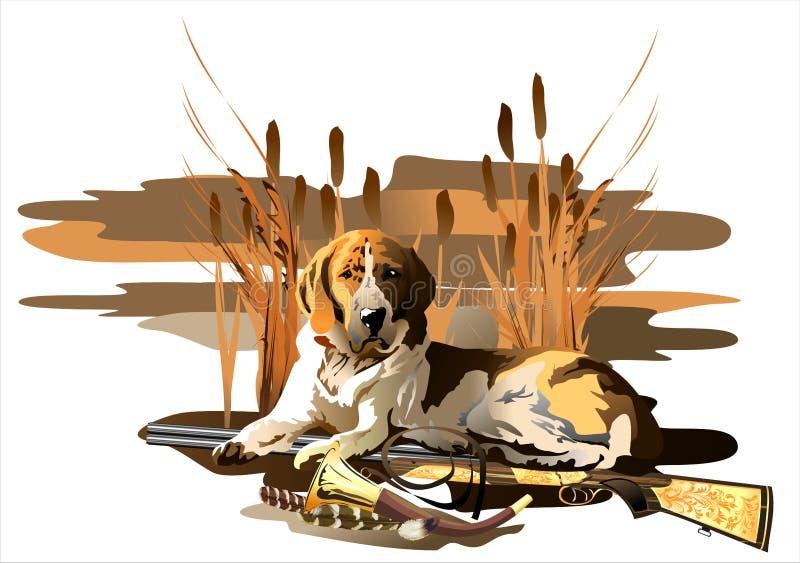 背景狗狩猎拉布拉多空白黄色 (传染媒介) 皇族释放例证