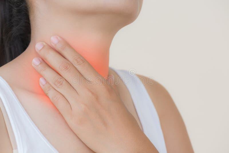 背景现有量查出在安排病的喉咙痛白人妇女 医疗保健和医疗概念 免版税库存图片