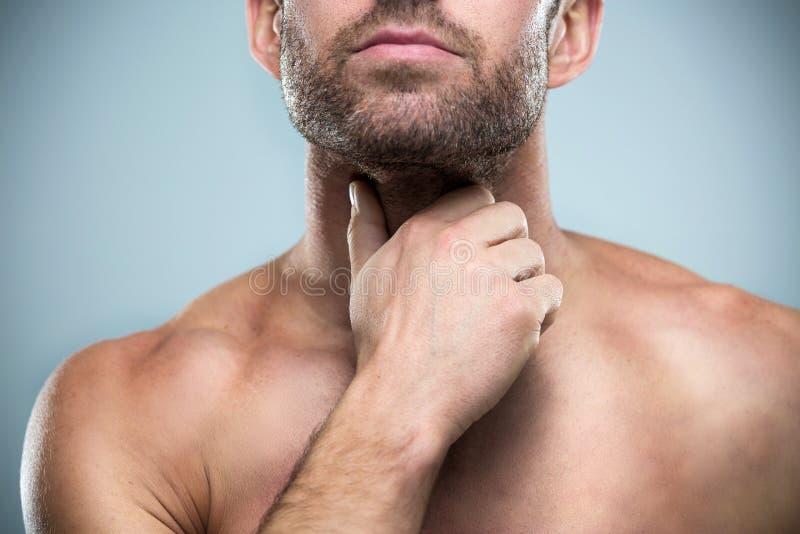 背景现有量查出在安排病的喉咙痛白人妇女 库存图片