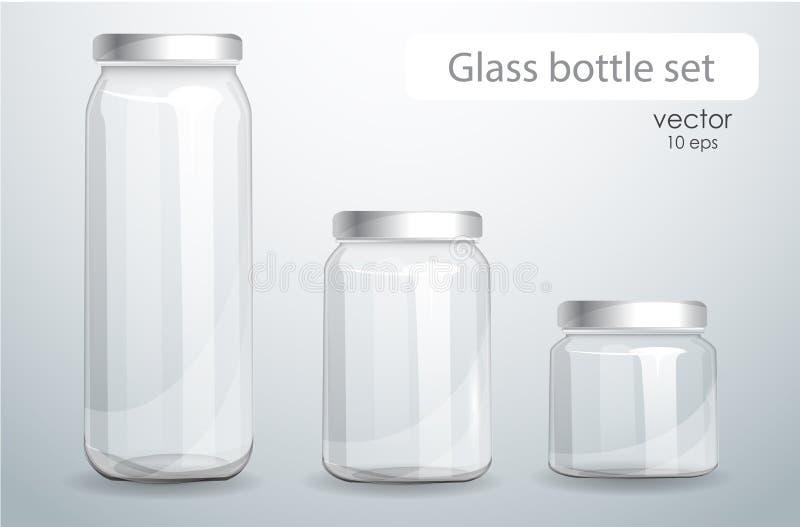 背景玻璃瓶查出的集合透明白色 现实银行 向量例证