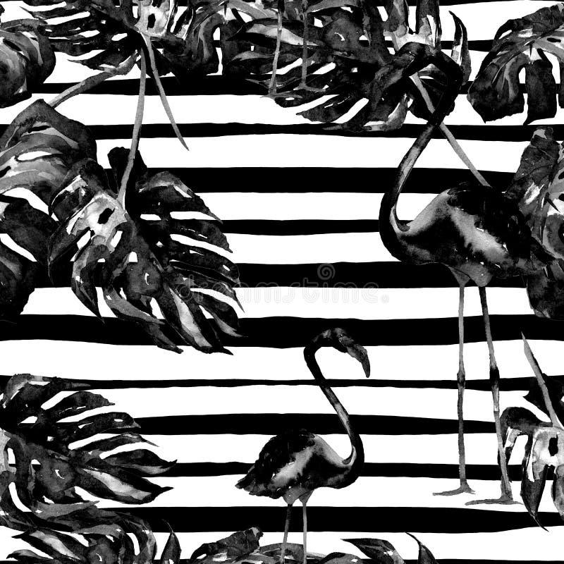 背景球海滩美好的空的夏天排球 水彩无缝的样式 与夏威夷树的手画热带夏天主题 皇族释放例证