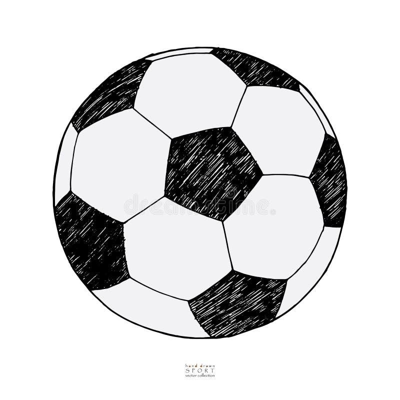 背景球足球白色 手拉的草图 皇族释放例证