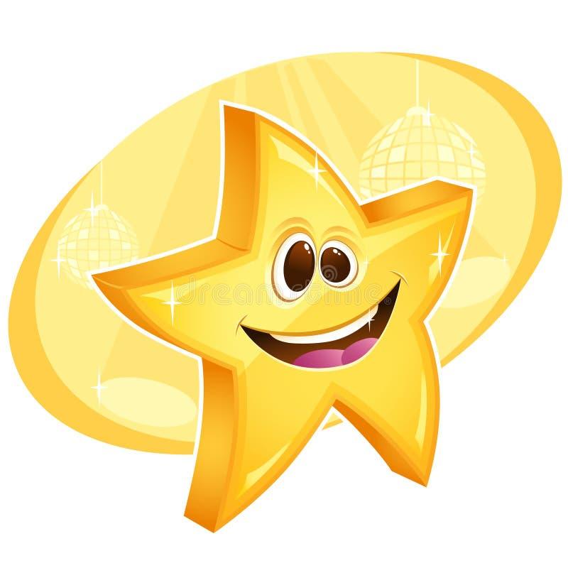 背景球迪斯科发光的微笑的星形 向量例证