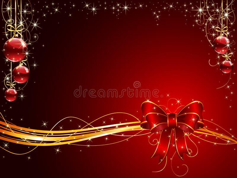 背景球鞠躬圣诞节红色 库存例证