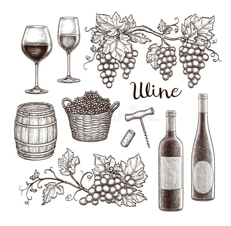 背景瓶典雅的玻璃查出红色集合白葡萄酒 库存例证