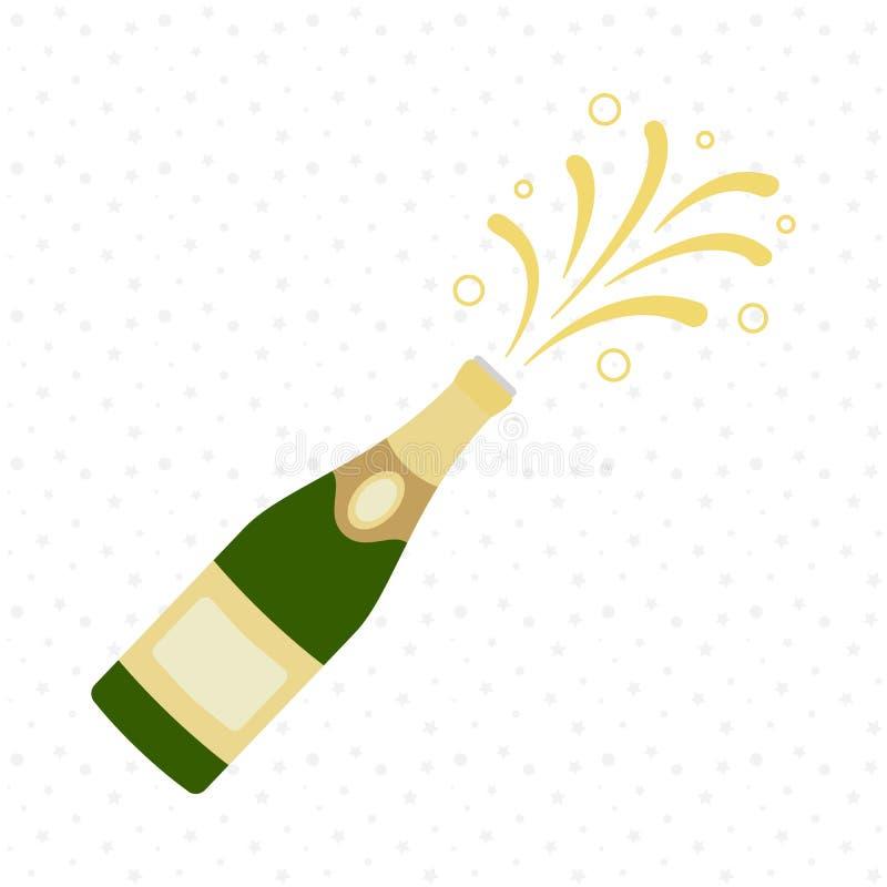 背景瓶香槟展开节假日 欢呼 庆祝 假日多士 向量例证
