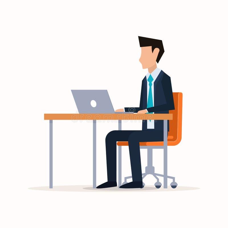 背景生意人查出的空白工作场所 库存例证