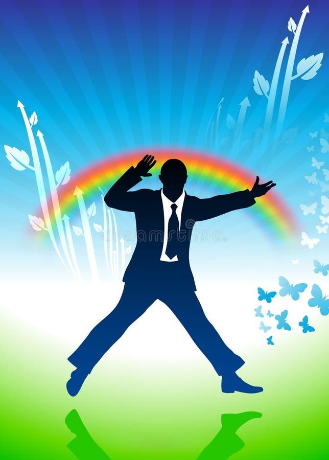 背景生意人激动的跳的彩虹 向量例证
