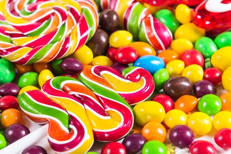 背景用五颜六色的糖果 库存图片