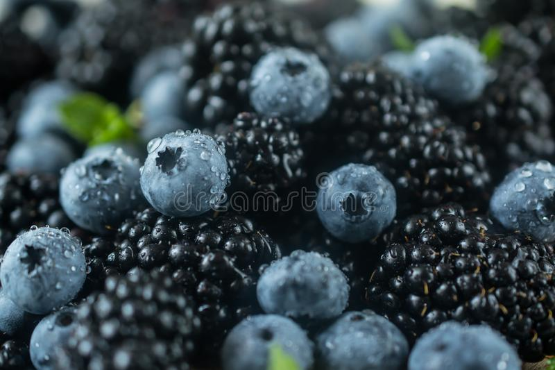 背景用新鲜的成熟水多的黑莓和蓝莓特写镜头照片 免版税库存图片
