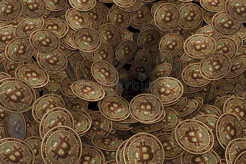 背景由许多做成cryptocurrency bitcoin - 3d翻译 皇族释放例证
