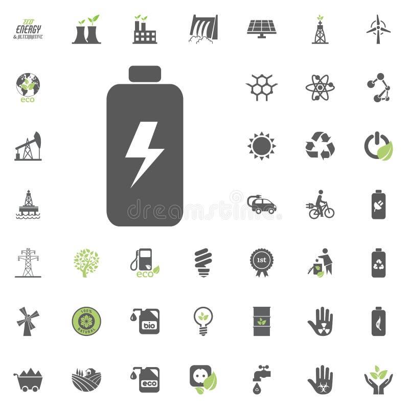 背景电池图标查出的白色 Eco和可选择能源传染媒介象集合 能源电电力资源集合传染媒介 向量例证
