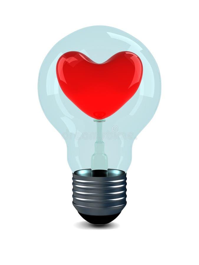 背景电灯泡重点红色白色 库存例证