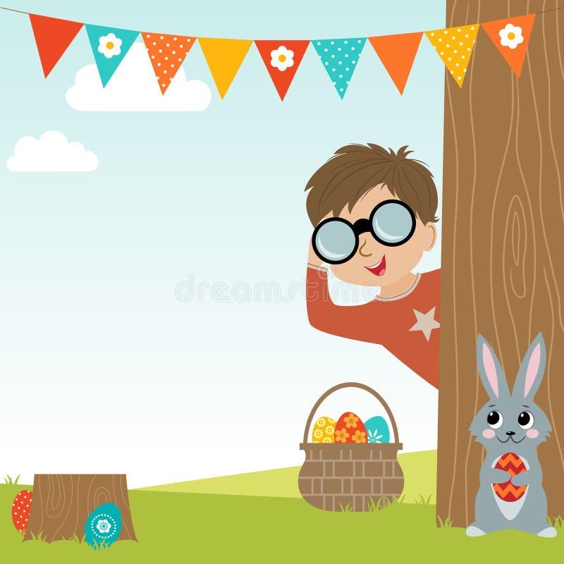 背景男孩逗人喜爱的复活节彩蛋蛋新草绿色隐藏的搜索查出搜索白色 库存例证