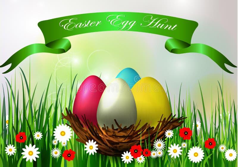 背景男孩逗人喜爱的复活节彩蛋蛋新草绿色隐藏的搜索查出搜索白色 向量例证