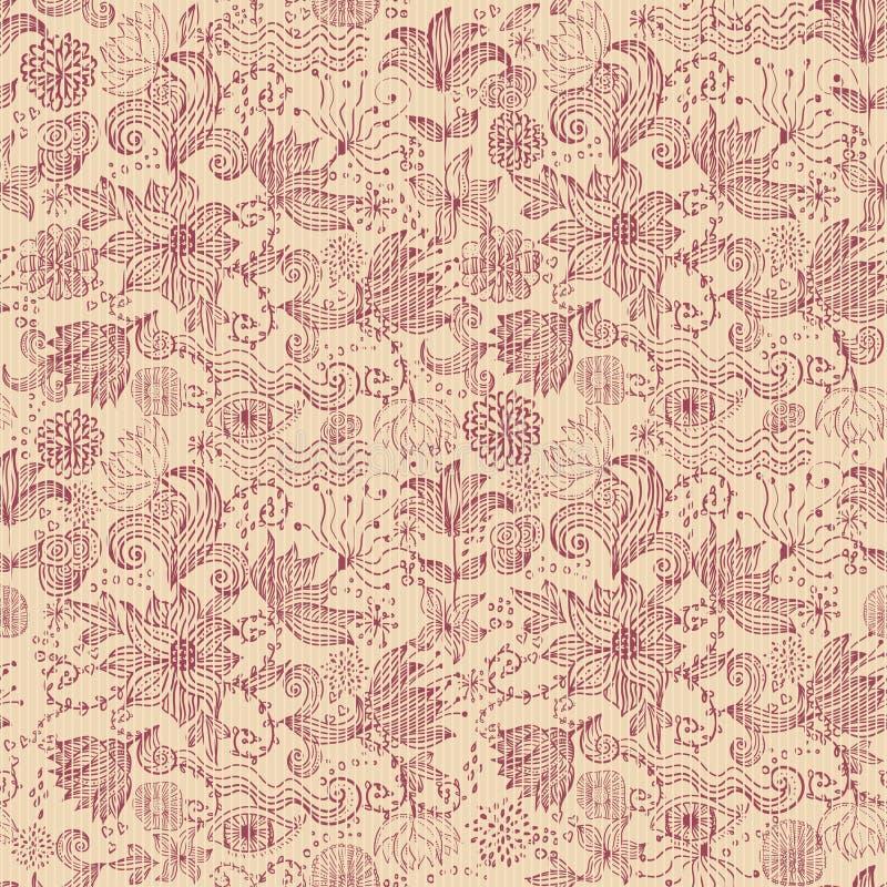 背景画布花卉图案无缝的向量 皇族释放例证