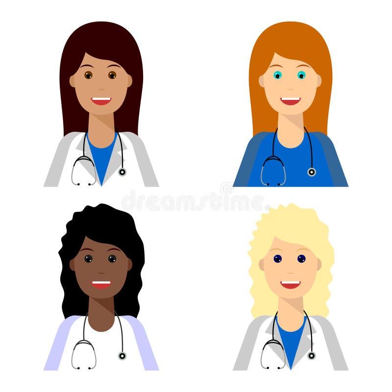背景白肤金发的浅黑肤色的男人篡改女性医疗队白色 向量例证