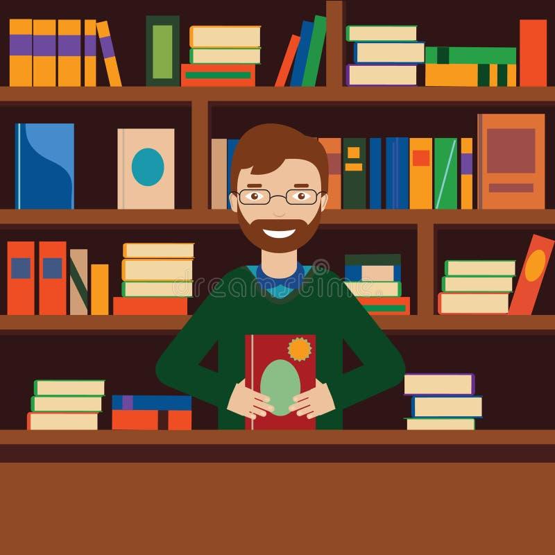 背景的人与书橱 图书管理员或书店卖主 库存例证