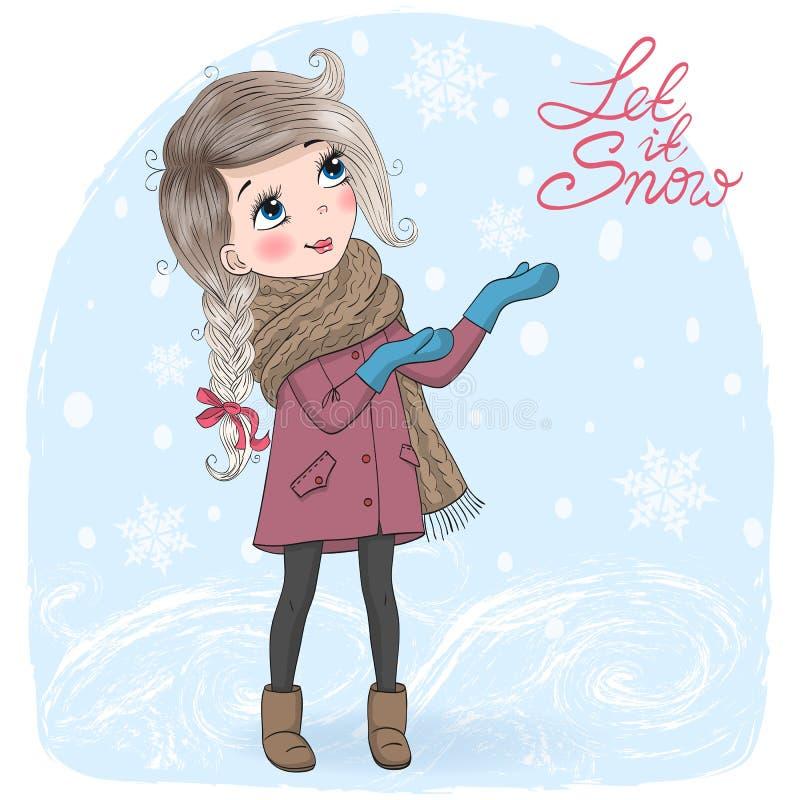 背景的手拉的美丽的逗人喜爱的矮小的冬天女孩与题字你好冬天 皇族释放例证
