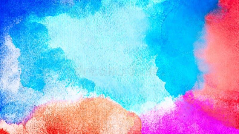背景的抽象五颜六色的水彩 手工制造艺术绘画 库存例证