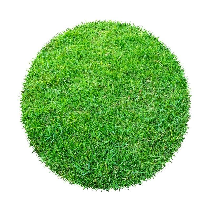 背景的抽象绿草纹理 圈子在与裁减路线的白色背景隔绝的绿草样式 图库摄影