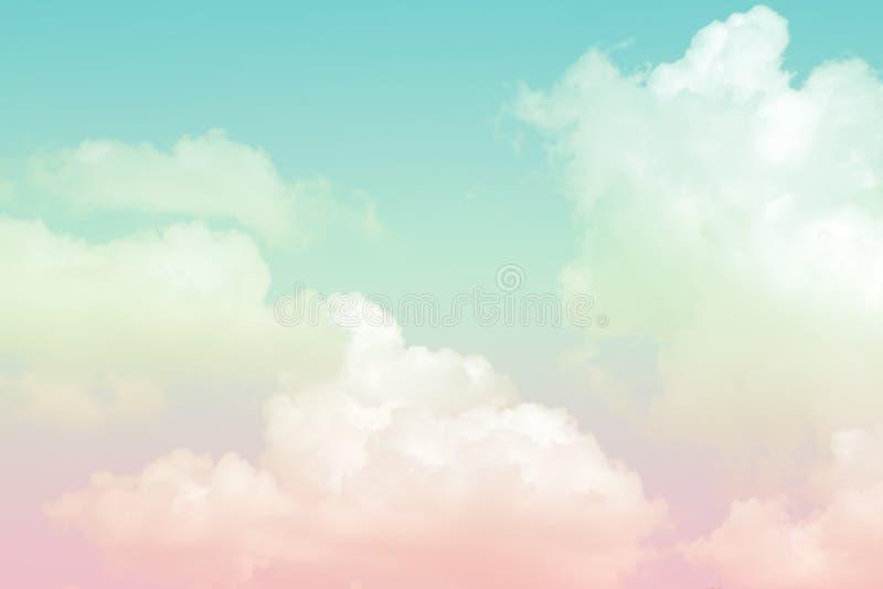 背景的抽象艺术性的软的淡色五颜六色的云彩天空 库存照片