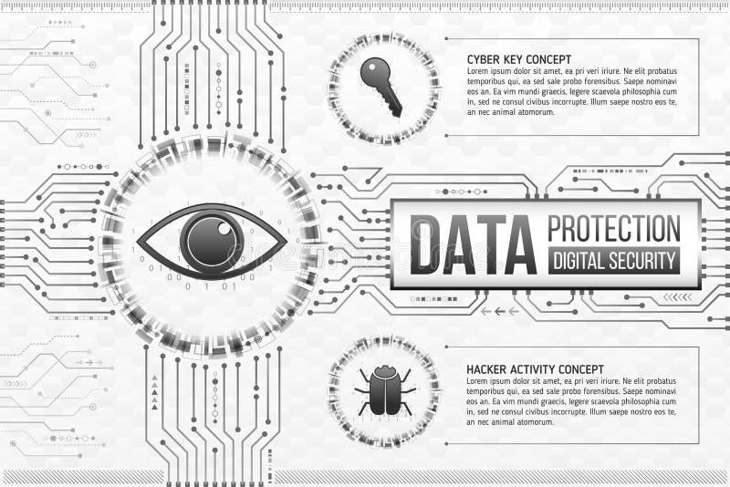 背景的数字技术概念与眼睛、钥匙和hacke的 库存例证