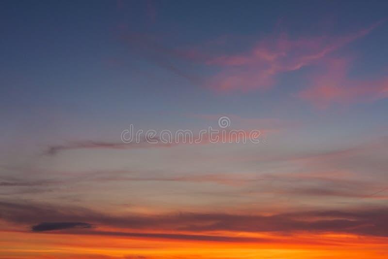背景的日落天空 库存图片