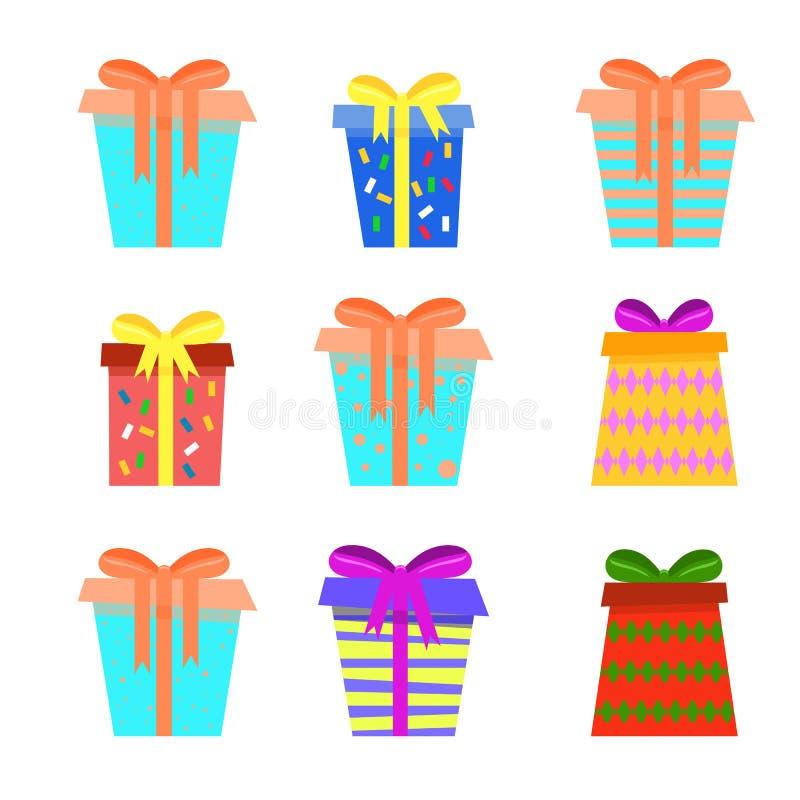 背景的欢乐不对称的圣诞礼物箱子收藏 向量例证