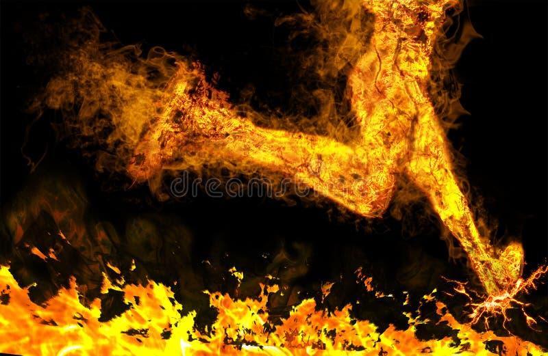 黑背景的火热的连续人 免版税库存照片