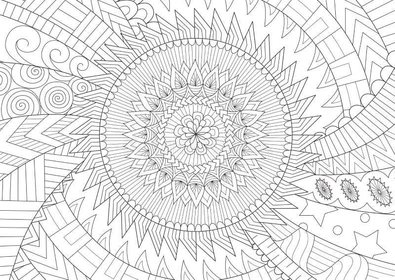 背景的美丽的坛场和彩图、上色页或者上色图片 也corel凹道例证向量 库存例证