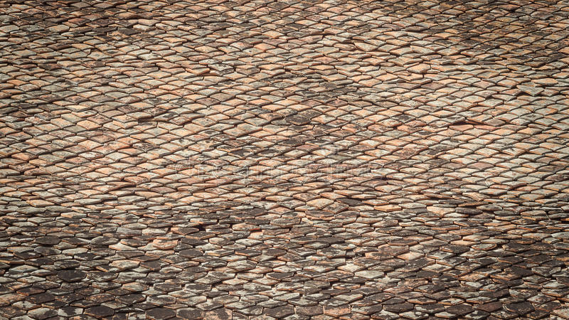 背景的老瓦屋顶 免版税库存图片