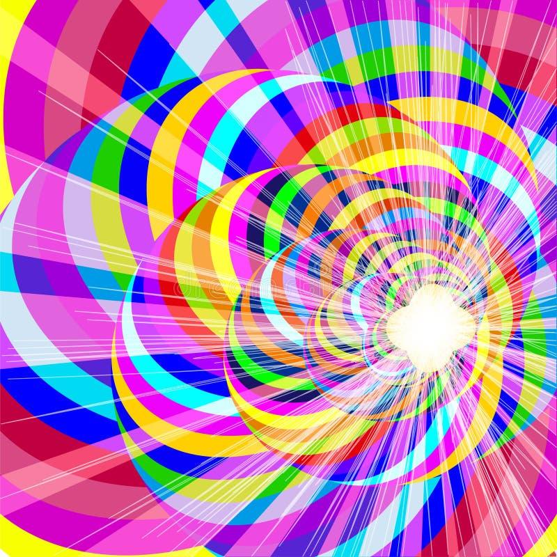 背景的范围与螺旋线和明亮的闪光的 向量例证