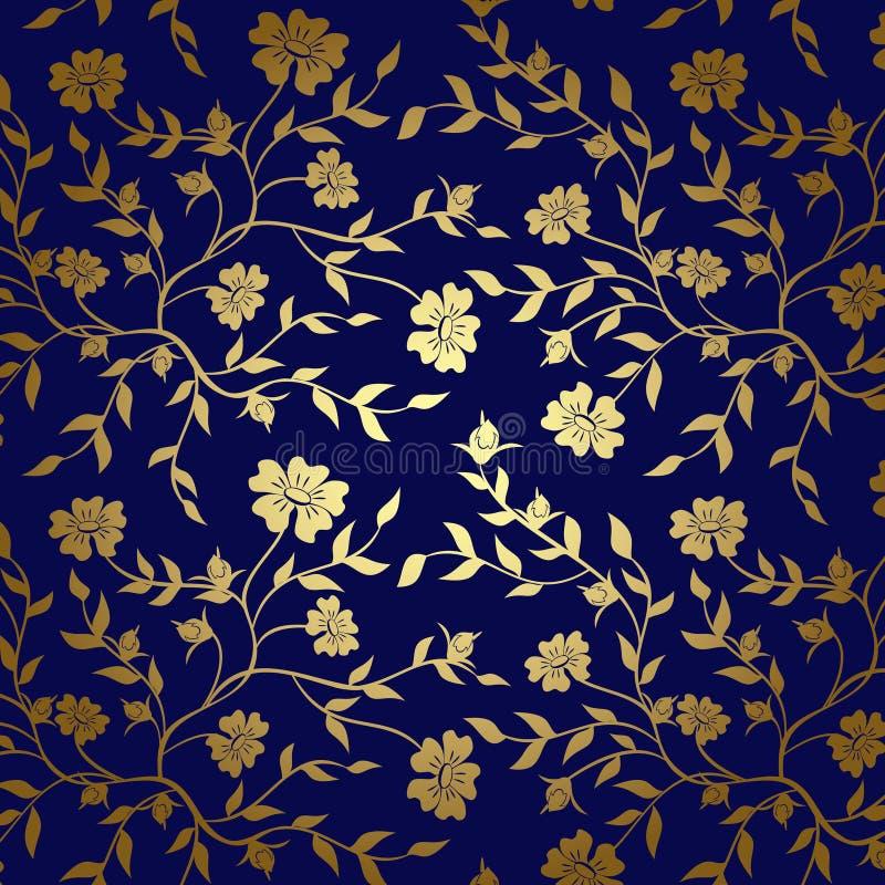 背景的蓝色和金子花卉纹理 库存例证