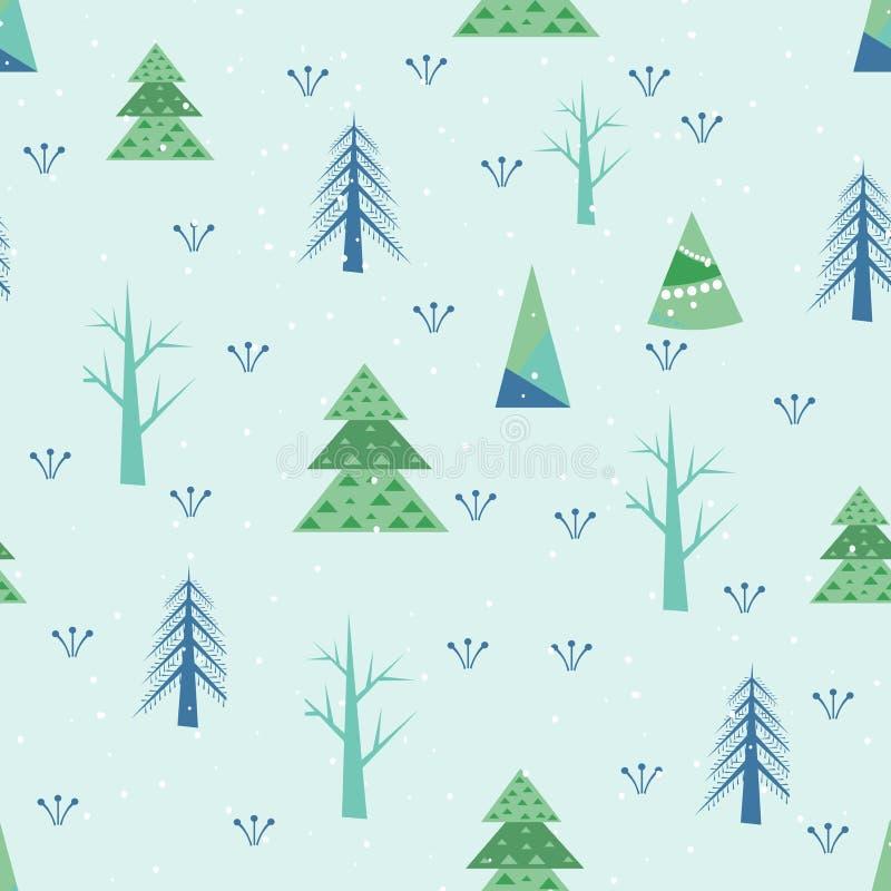 背景的逗人喜爱的无缝的纹理与风格化圣诞树 向量例证
