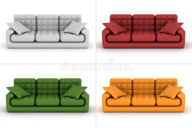 背景皮革集合沙发白色 向量例证